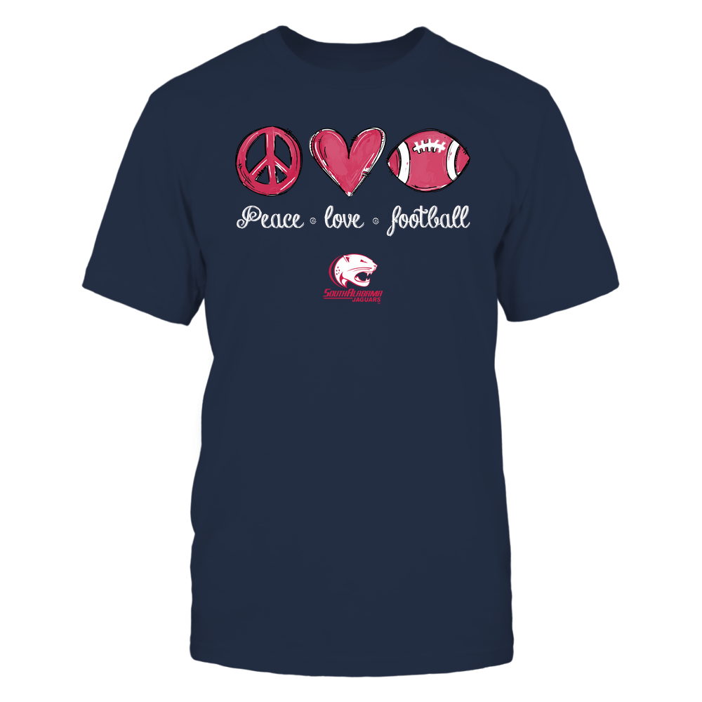 South Alabama Jaguars - Peace Love Football - Hand Drawn - Team Front picture