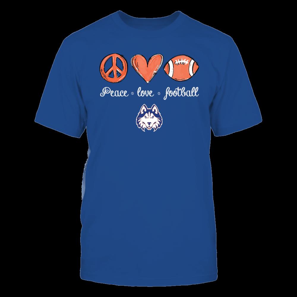 Houston Baptist Huskies - Peace Love Football - Hand Drawn - Team Front picture