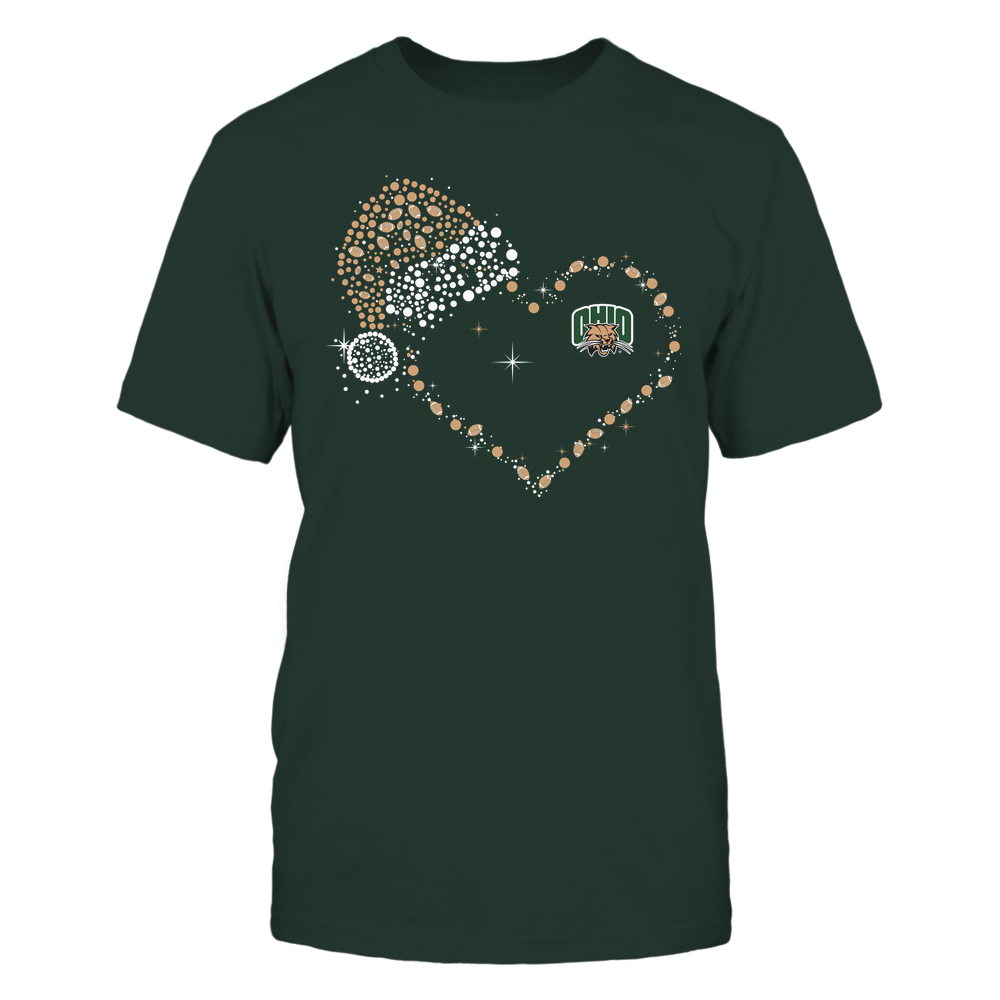 Ohio Bobcats - Christmas - Christmas Hat Football Heart - Team Front picture