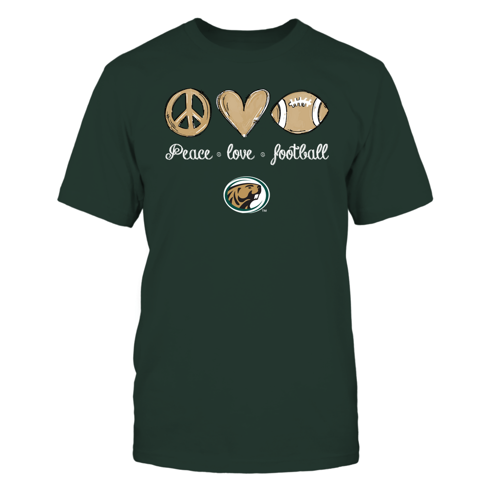 Bemidji State Beavers - Peace Love Football - Hand Drawn - Team Front picture
