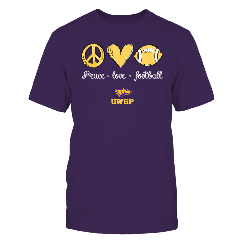 Wisconsin-Stevens Point Pointers - Peace Love Football - Hand Drawn - Team Front picture
