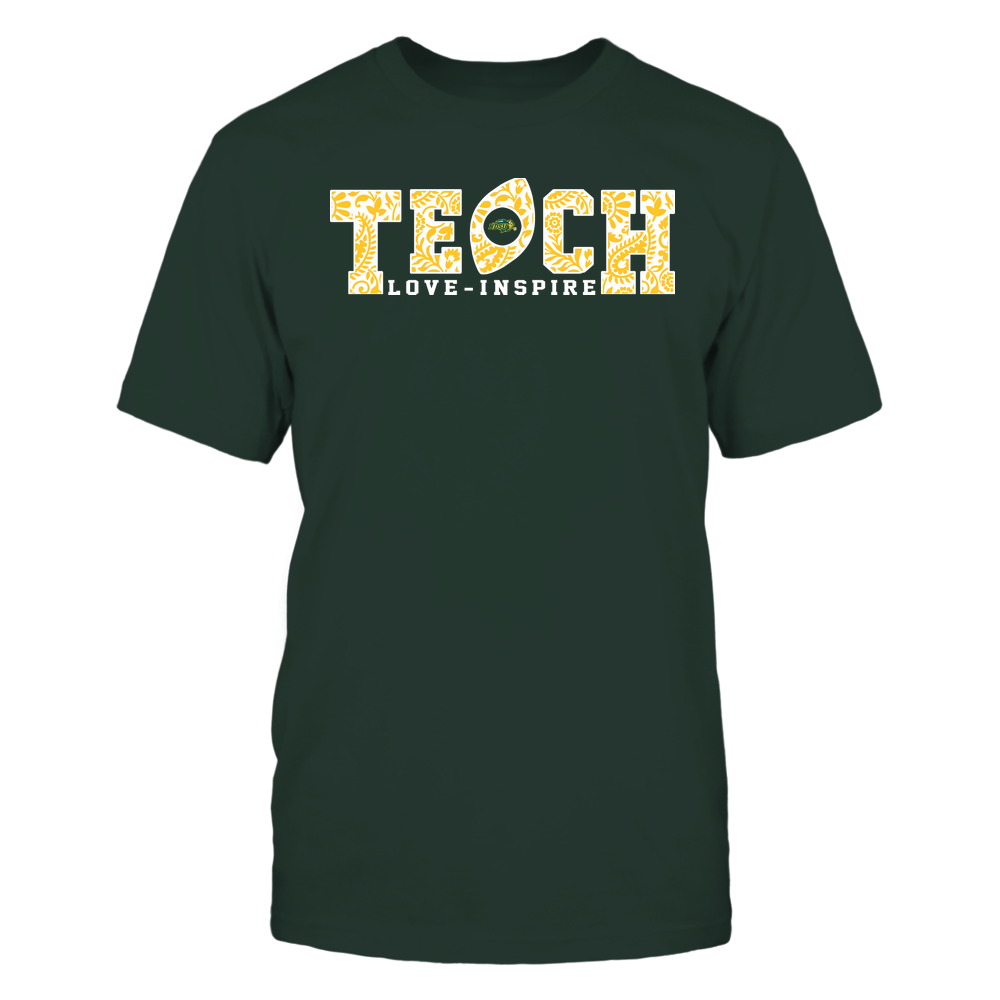 North Dakota State Bison - Teach Love Inspire - Paisley Pattern Football Front picture