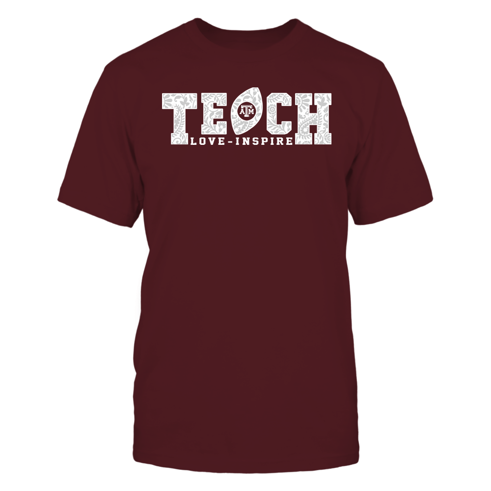 Texas A&M Aggies - Teach Love Inspire - Paisley Pattern Football Front picture