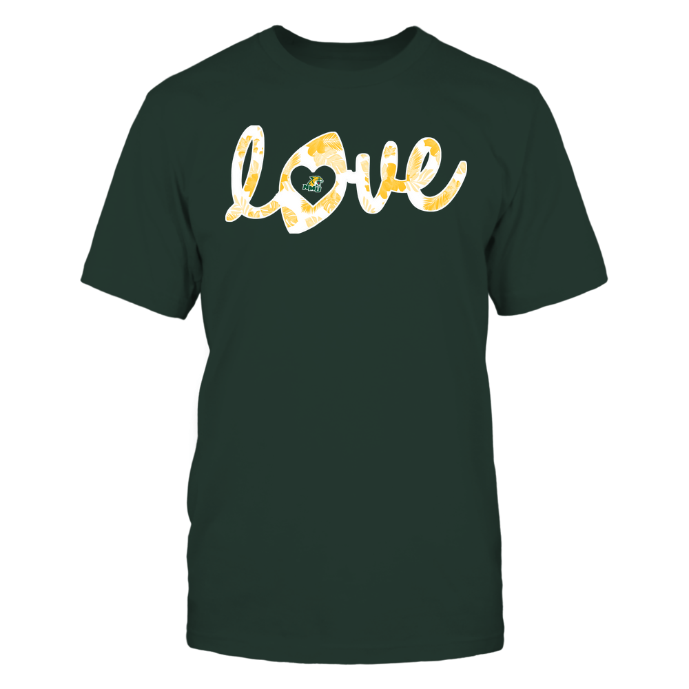 Northern Michigan Wildcats - Football - Love Lowercase - Tropical Pattern Front picture
