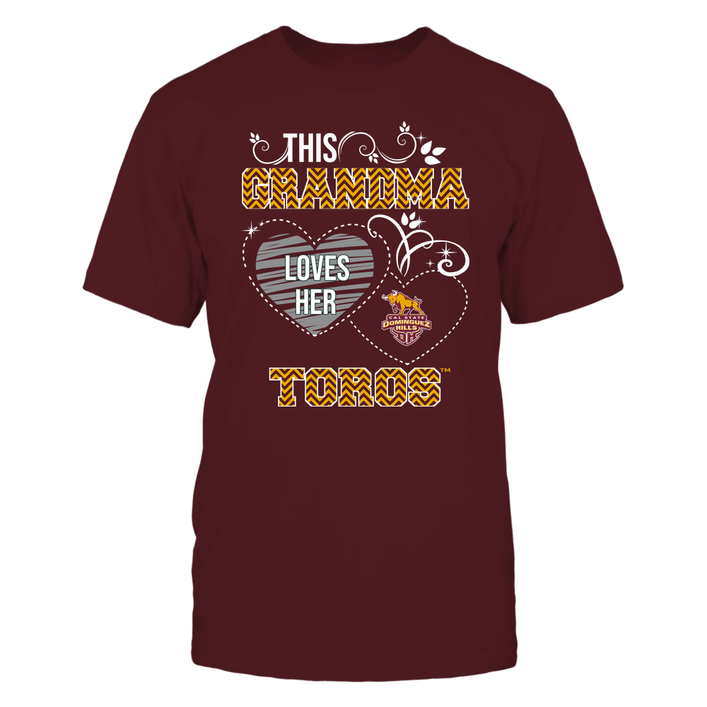 Cal State Dominguez Hills Toros - This Grandma Loves Team - Mascot - Chevron Pattern Front picture
