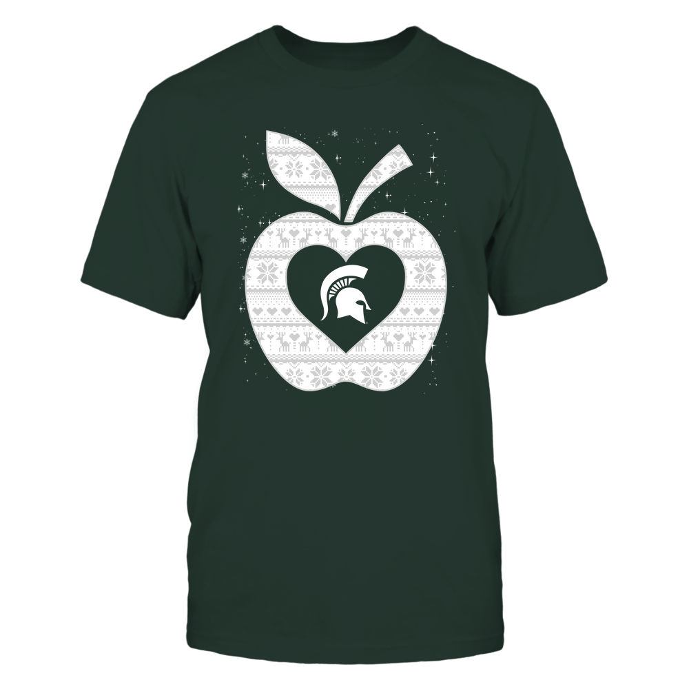 Michigan State Spartans - Christmas ^ Teacher ^ Ugly Sweater ^ Apple Front picture