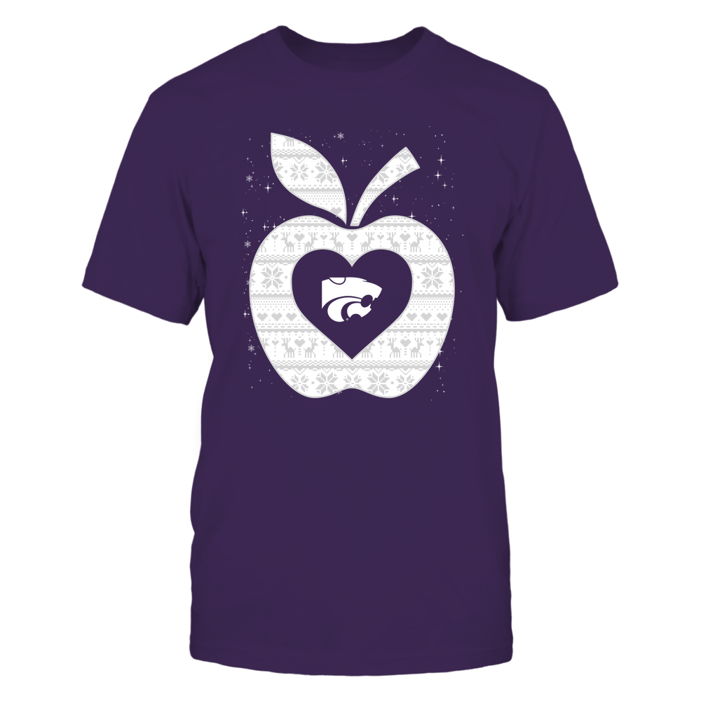 Kansas State Wildcats - Christmas ^ Teacher ^ Ugly Sweater ^ Apple Front picture