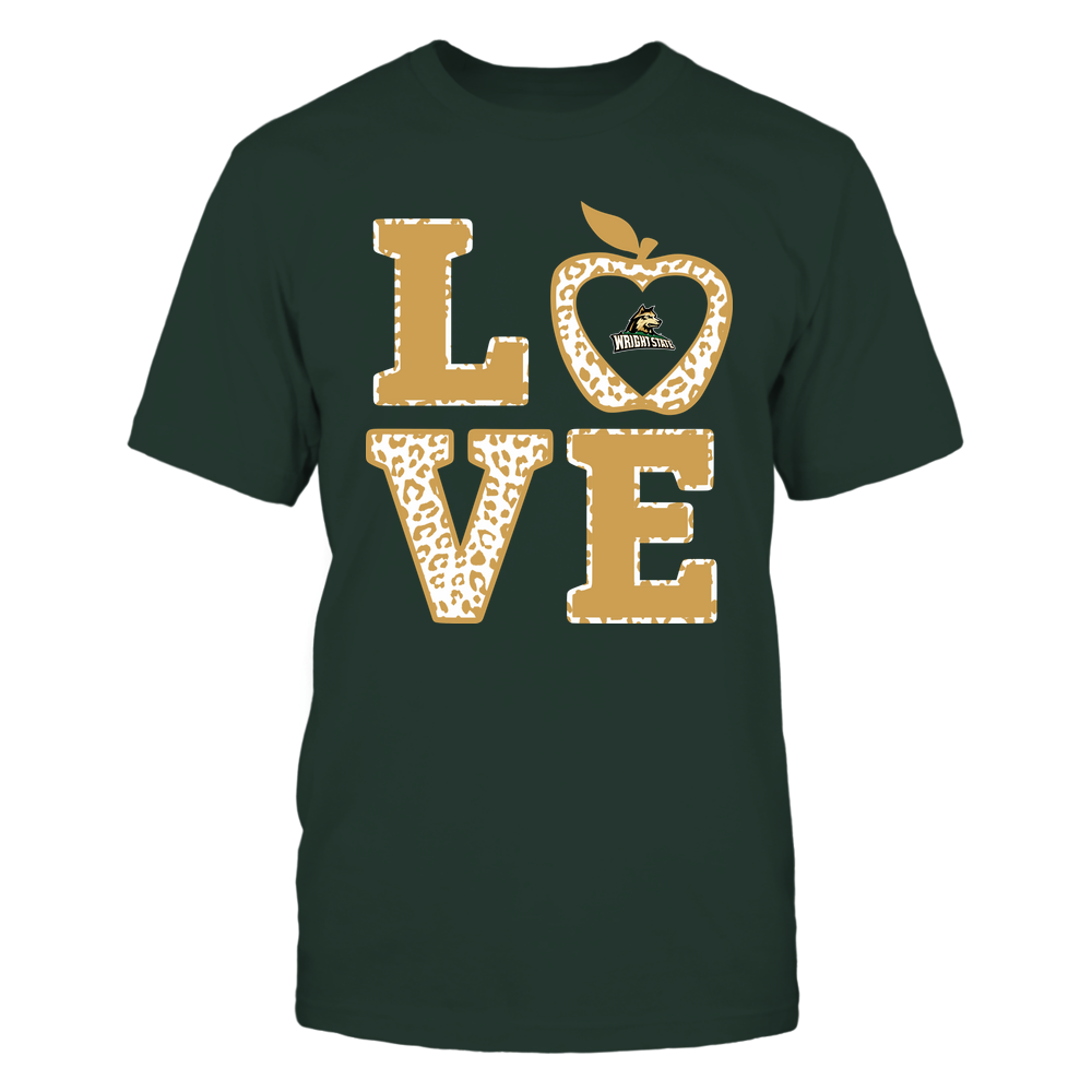 Wright State Raiders - Teacher - Stacked Love Leopard Apple Front picture
