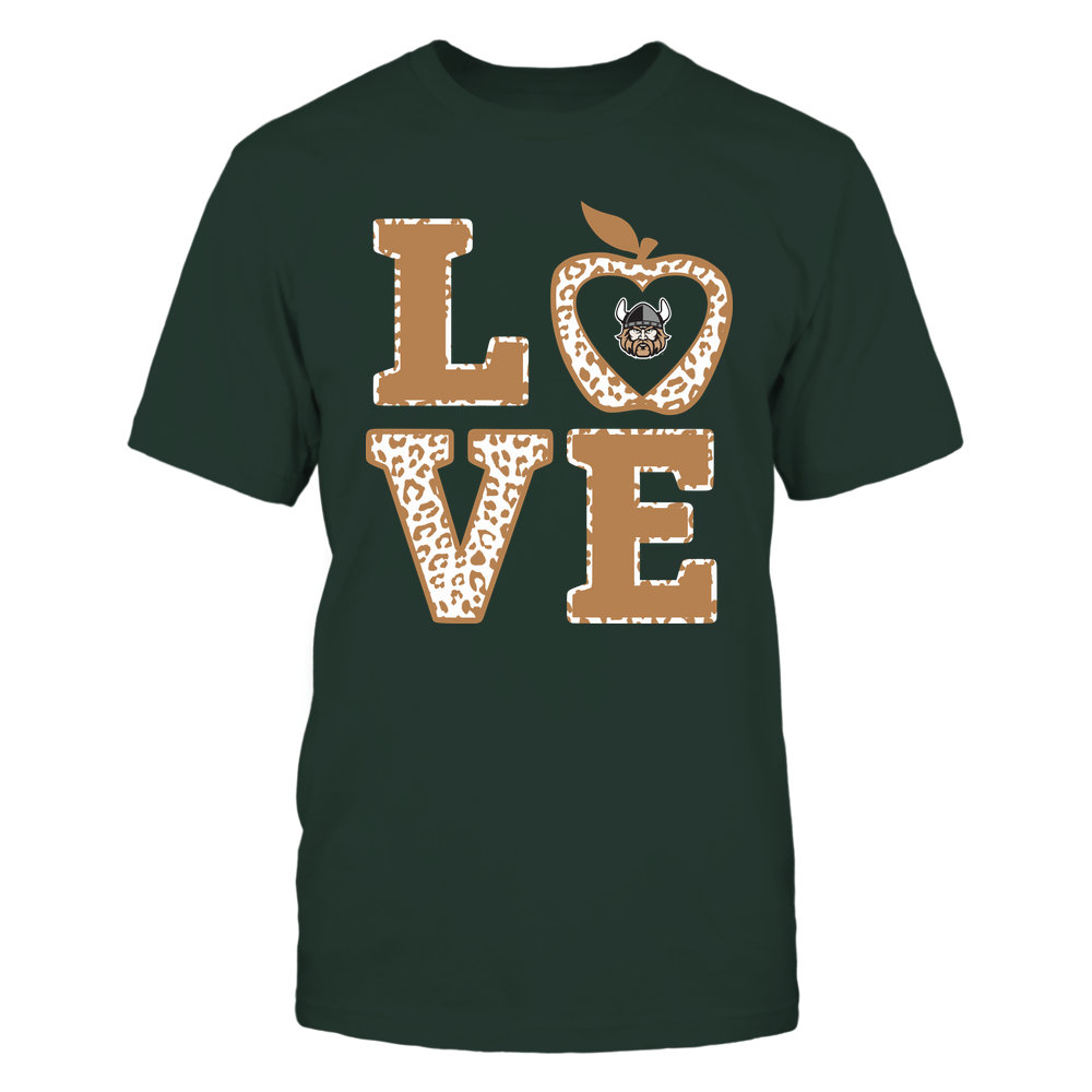 Cleveland State Vikings - Teacher - Stacked Love Leopard Apple Front picture