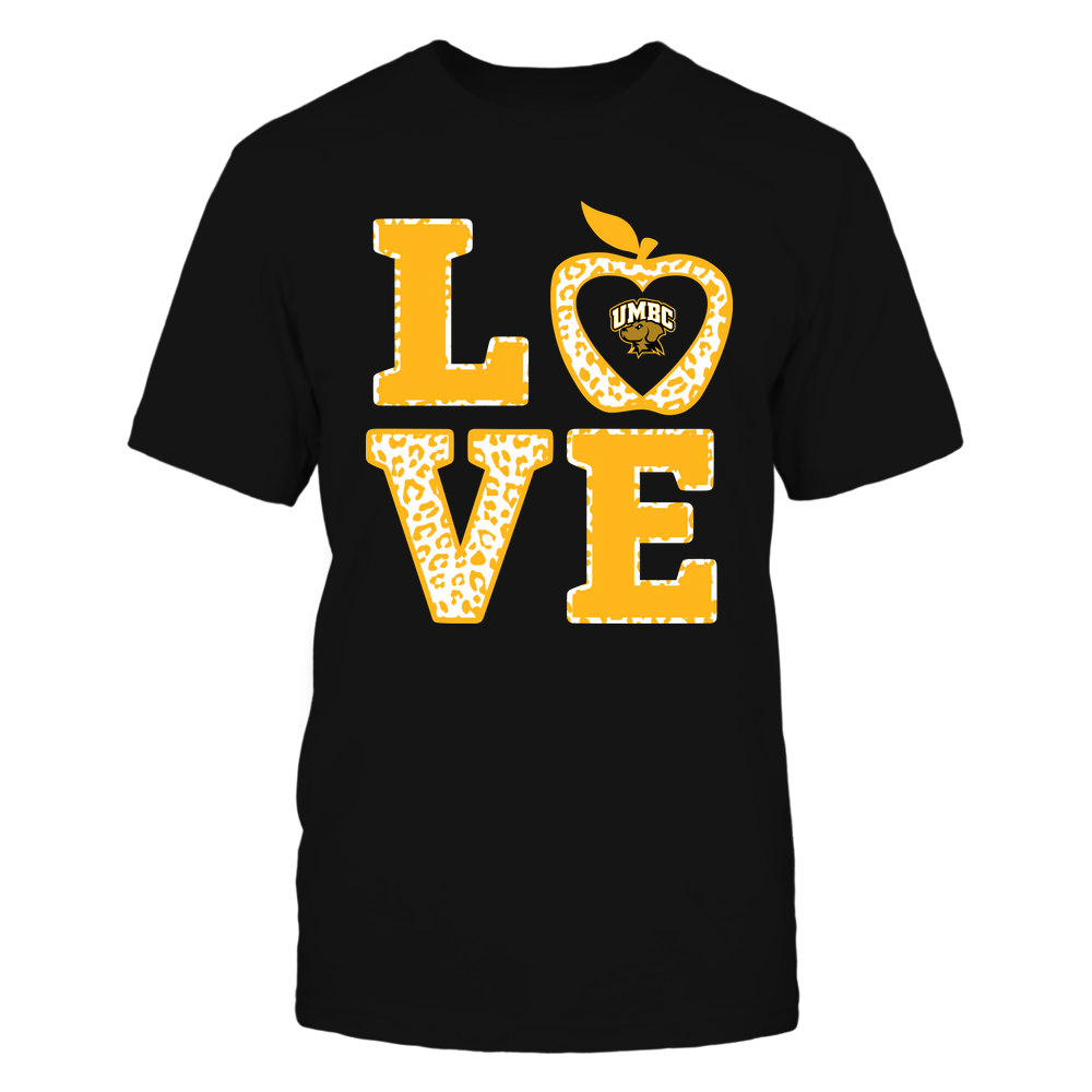 UMBC Retrievers - Teacher - Stacked Love Leopard Apple Front picture