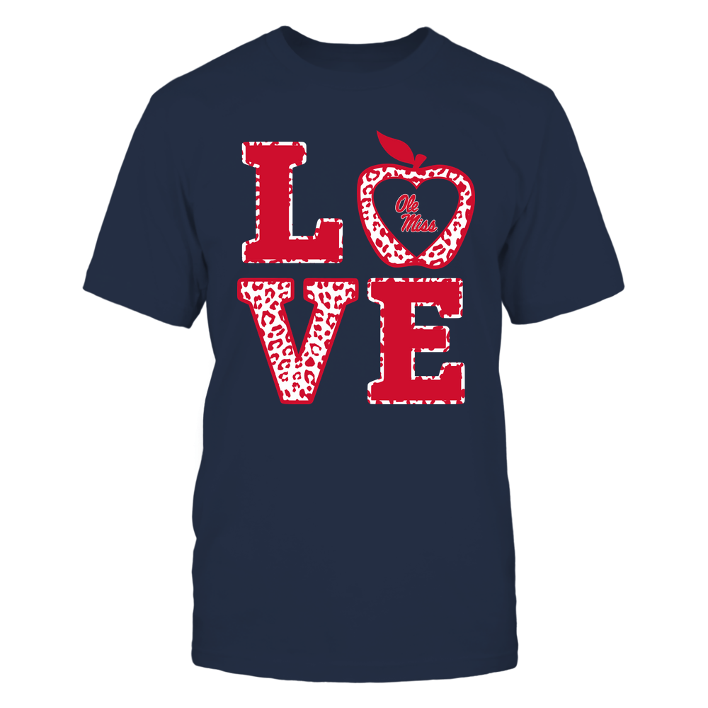 Ole Miss Rebels - Teacher - Stacked Love Leopard Apple Front picture
