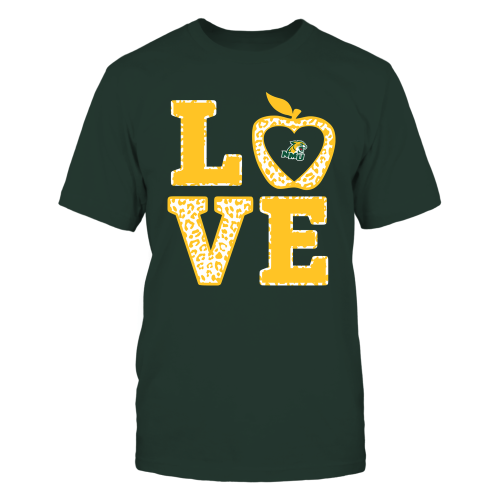Northern Michigan Wildcats - Teacher - Stacked Love Leopard Apple Front picture