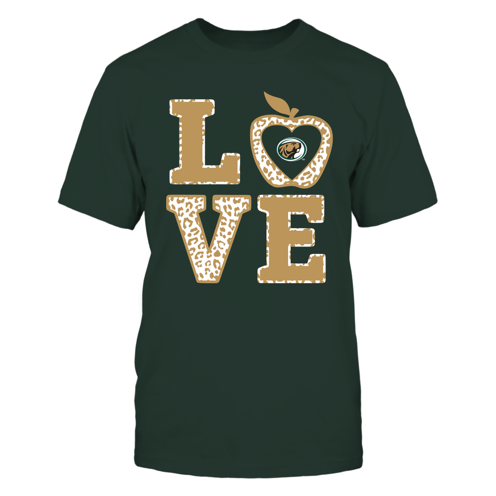 Bemidji State Beavers - Teacher - Stacked Love Leopard Apple Front picture