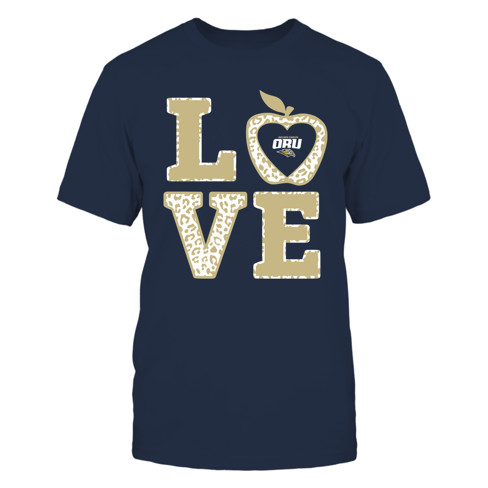 Oral Roberts Golden Eagles - Teacher - Stacked Love Leopard Apple Front picture