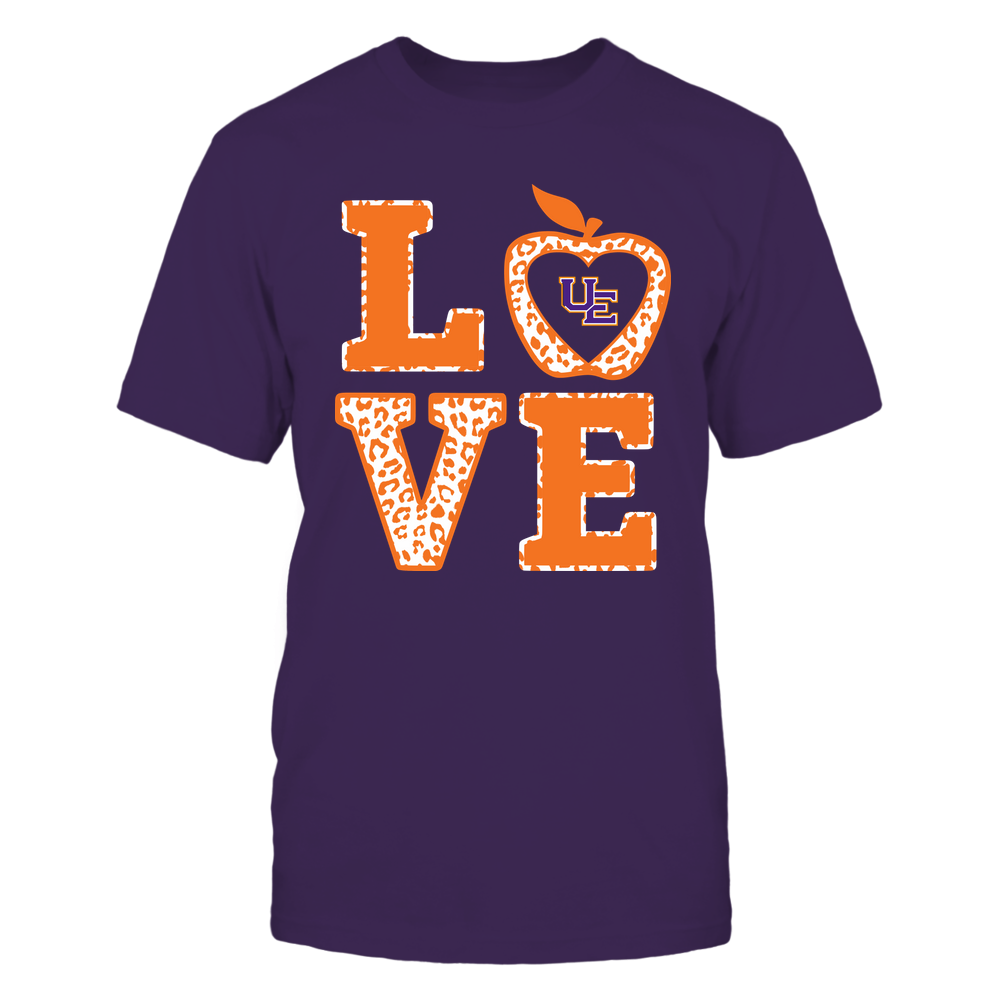 Evansville Purple Aces - Teacher - Stacked Love Leopard Apple Front picture