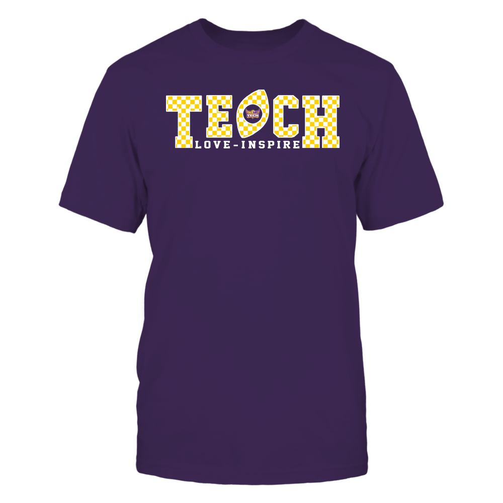 Tennessee Tech Golden Eagles - Teach Love Inspire - Checkered Pattern Football - Team Front picture