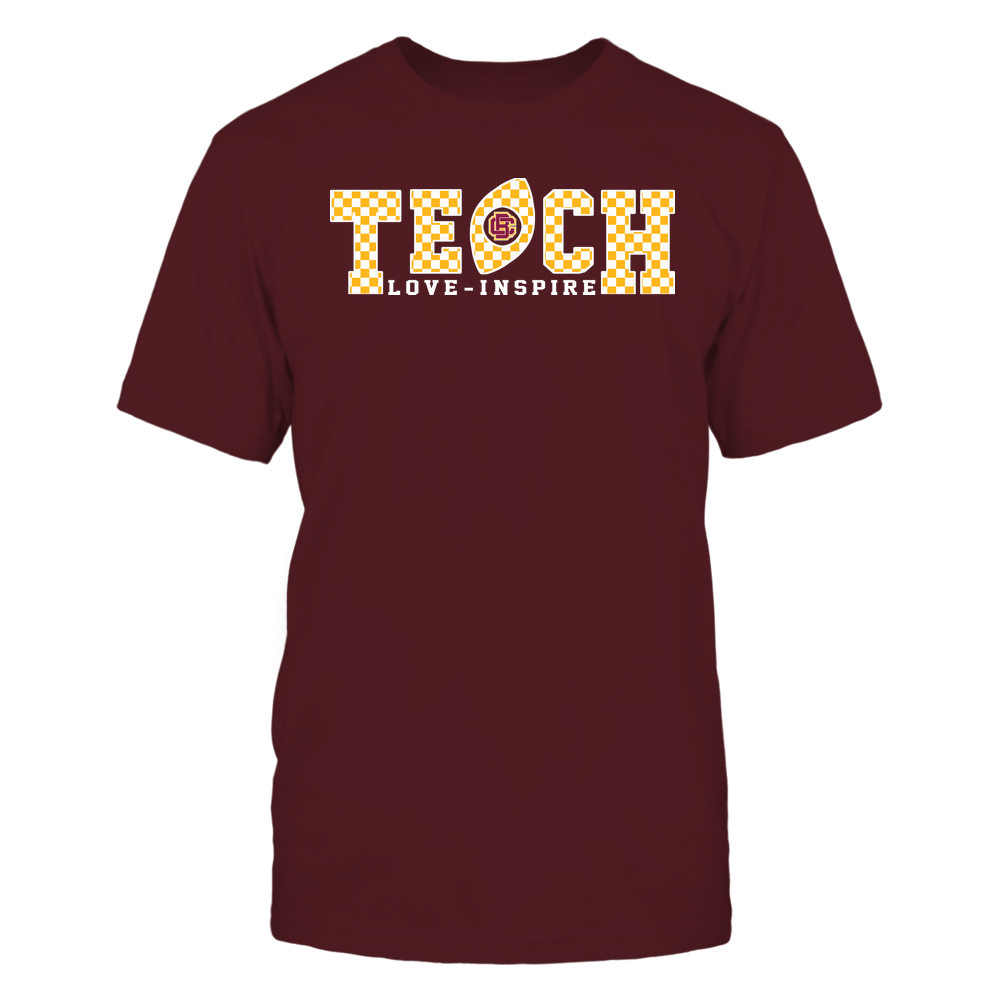 Bethune-Cookman Wildcats - Teach Love Inspire - Checkered Pattern Football - Team Front picture