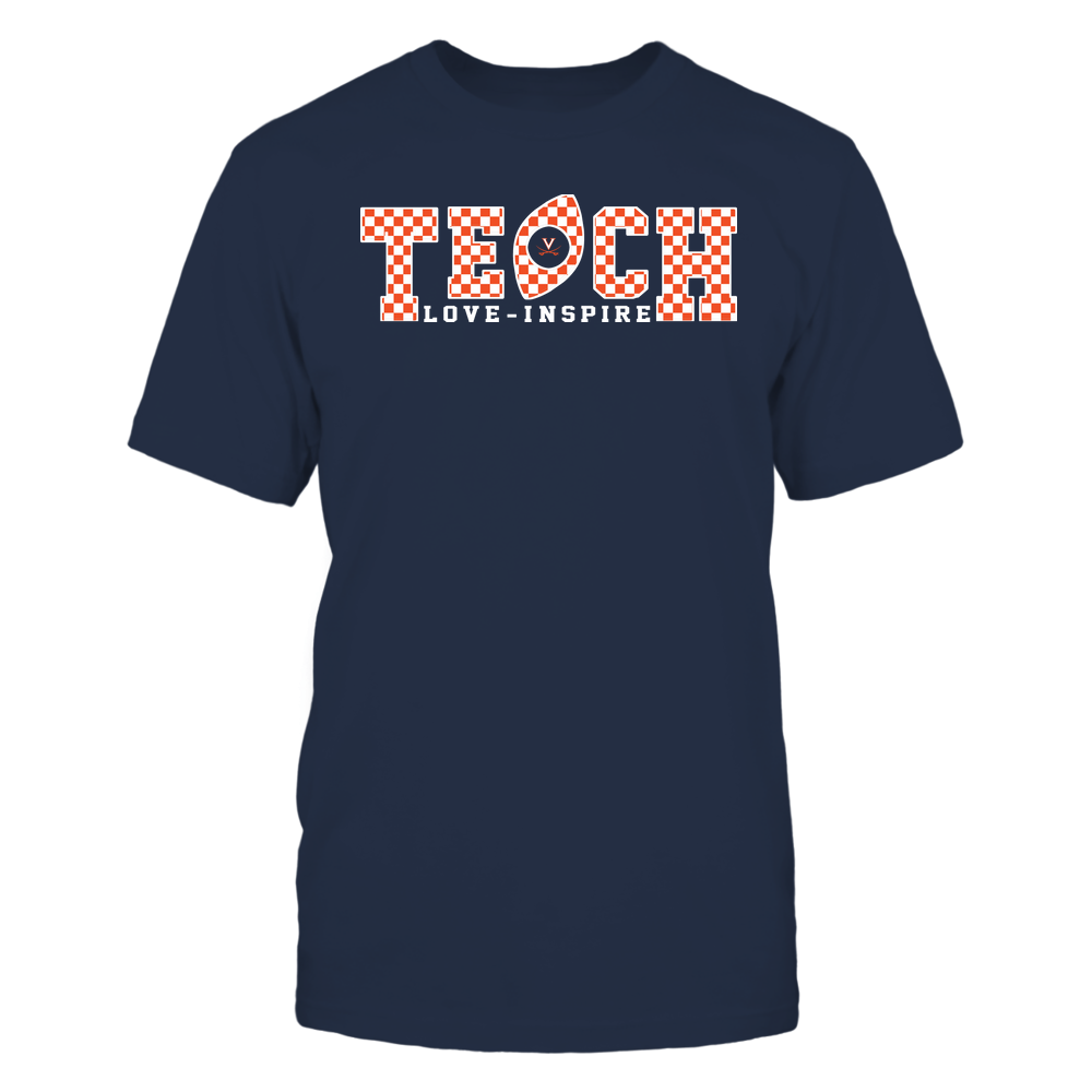 Virginia Cavaliers - Teach Love Inspire - Checkered Pattern Football - Team Front picture