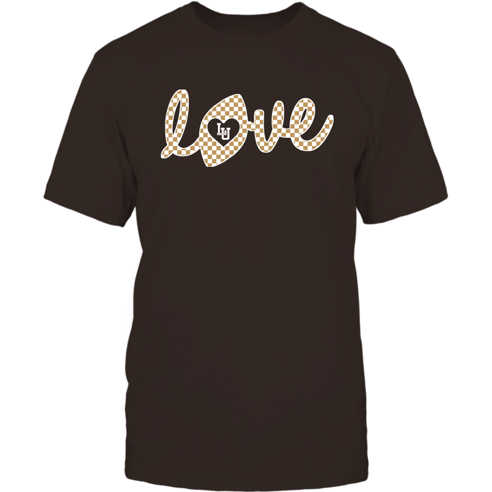 Lehigh Mountain Hawks - Football - Love Lowercase - Checkered Pattern Front picture