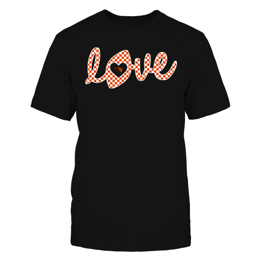Oregon State Beavers - Football - Love Lowercase - Checkered Pattern Front picture