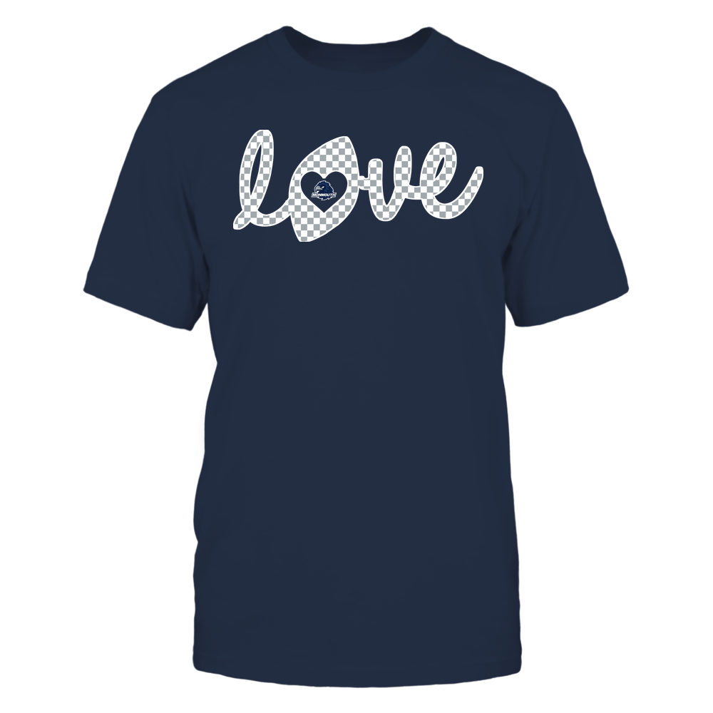 Monmouth Hawks - Football - Love Lowercase - Checkered Pattern Front picture