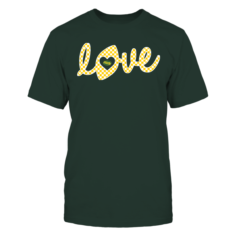 Arkansas Tech Golden Suns - Football - Love Lowercase - Checkered Pattern Front picture