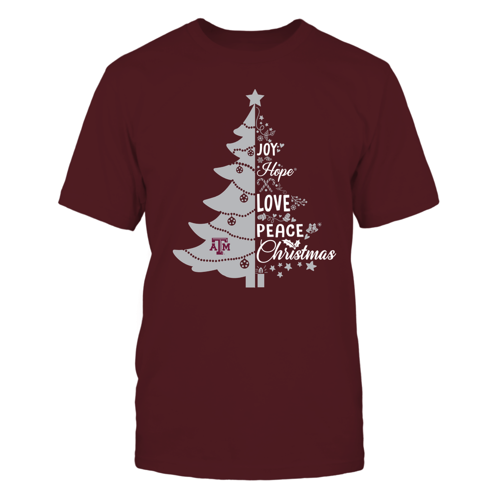 Texas A&M Aggies - Xmas - Joy Hope Love Peace - Half Tree - IF32-IC32-DS45 Front picture