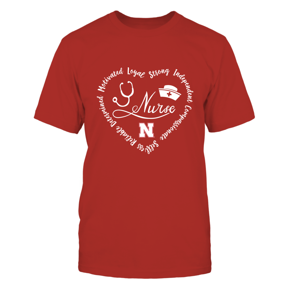Nebraska Cornhuskers - Nurse Word Heart - IF32-IC32-DS75 Front picture