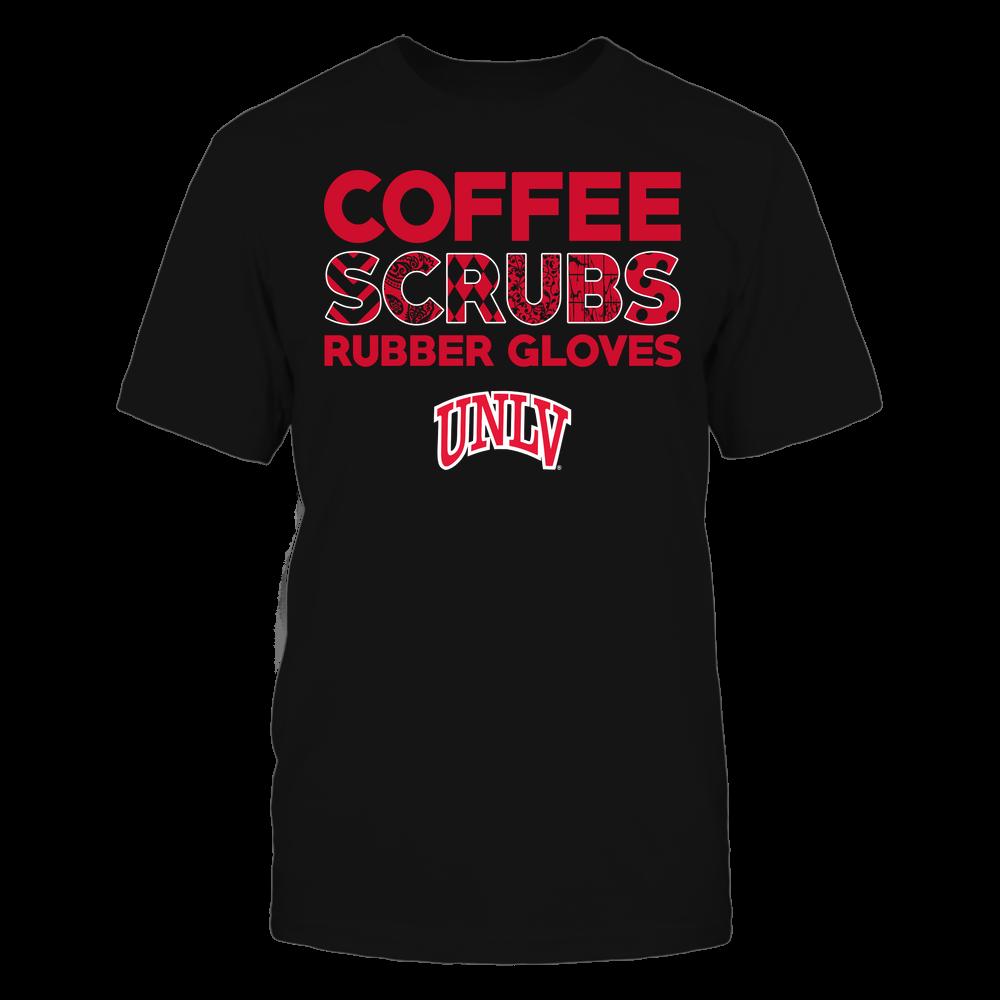 UNLV Rebels - Nurse - Coffee Scrubs Rubber Gloves - Slogan Pattern Front picture
