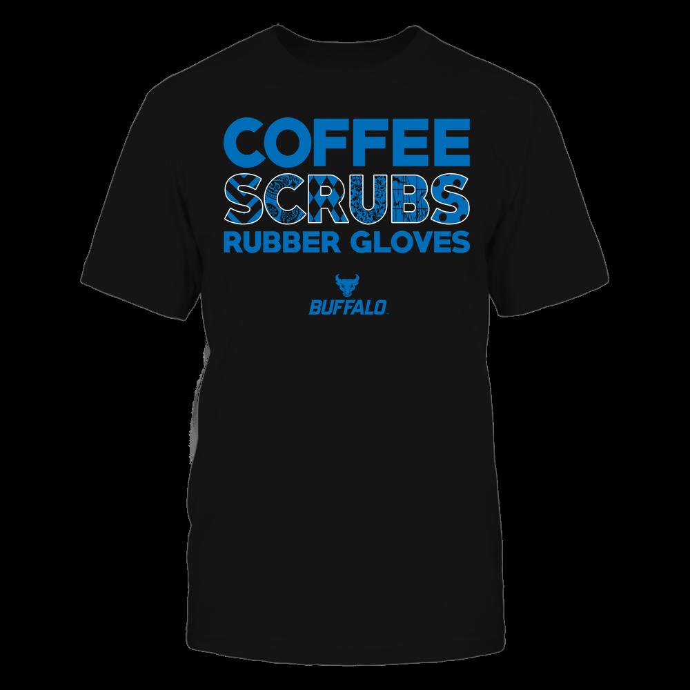 Buffalo Bulls - Nurse - Coffee Scrubs Rubber Gloves - Slogan Pattern Front picture