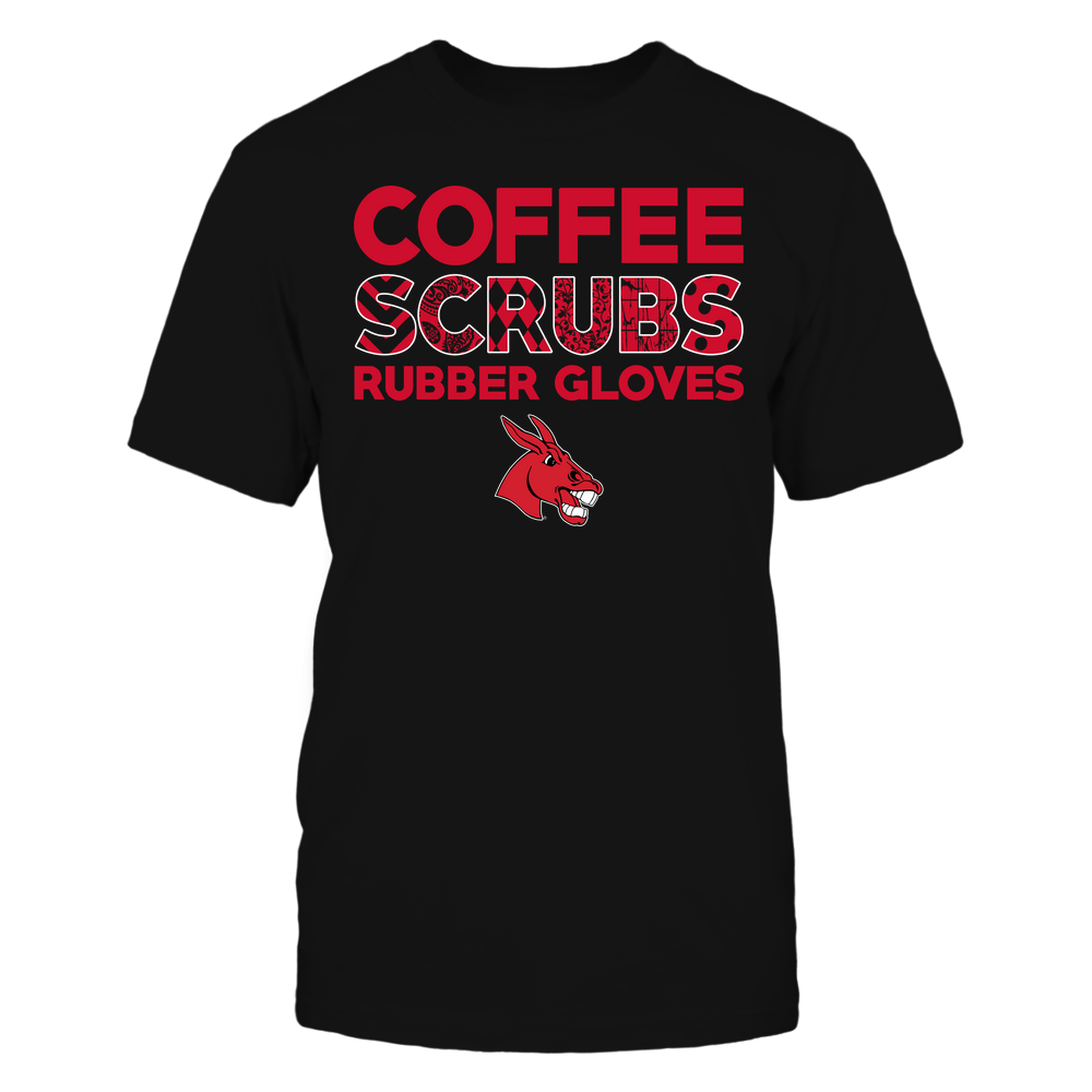 Central Missouri Mules - Nurse - Coffee Scrubs Rubber Gloves - Slogan Pattern Front picture