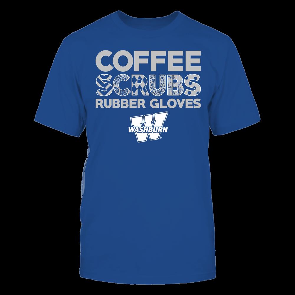 Washburn Ichabods - Nurse - Coffee Scrubs Rubber Gloves - Slogan Pattern Front picture