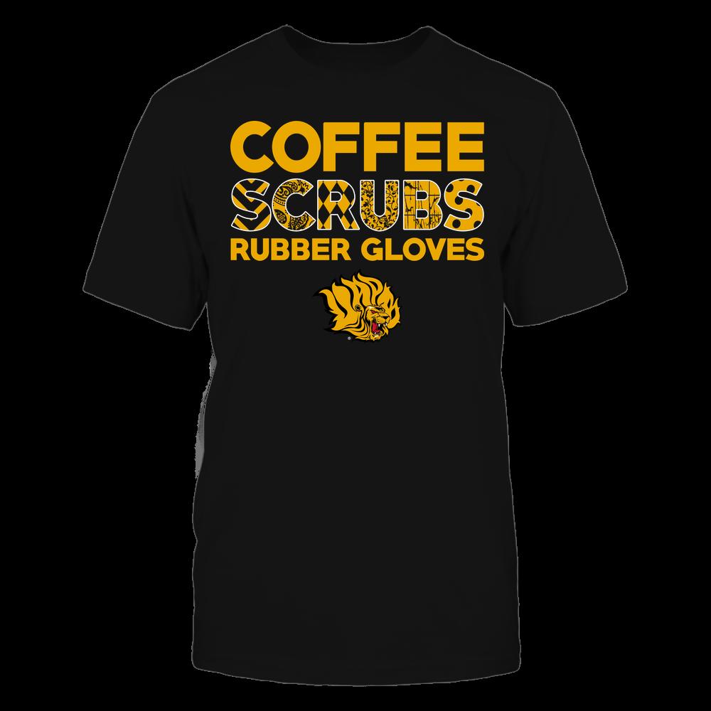 Arkansas Pine Bluff Golden Lions - Nurse - Coffee Scrubs Rubber Gloves - Slogan Pattern Front picture