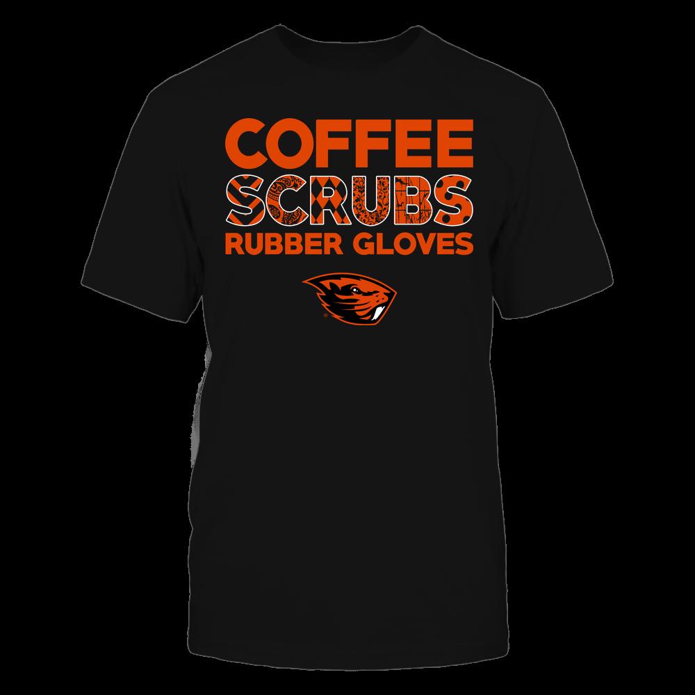 Oregon State Beavers - Nurse - Coffee Scrubs Rubber Gloves - Slogan Pattern Front picture