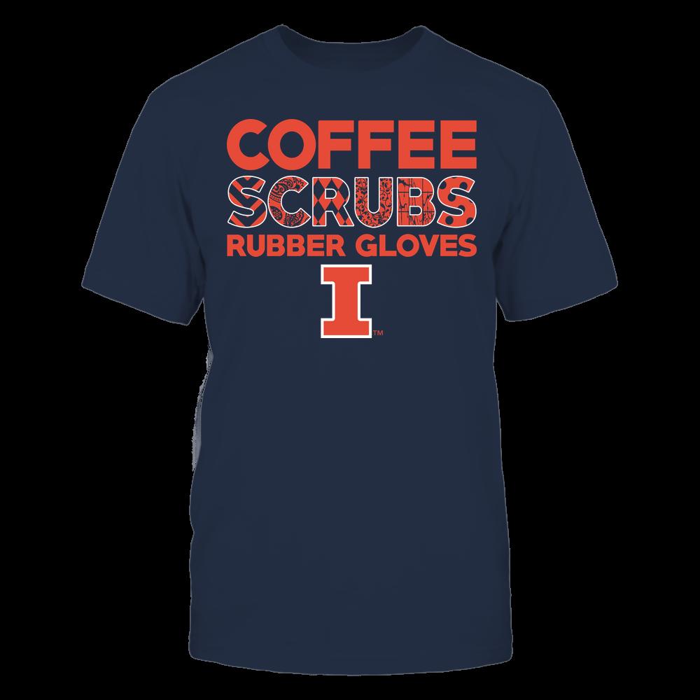 Illinois Fighting Illini - Nurse - Coffee Scrubs Rubber Gloves - Slogan Pattern Front picture