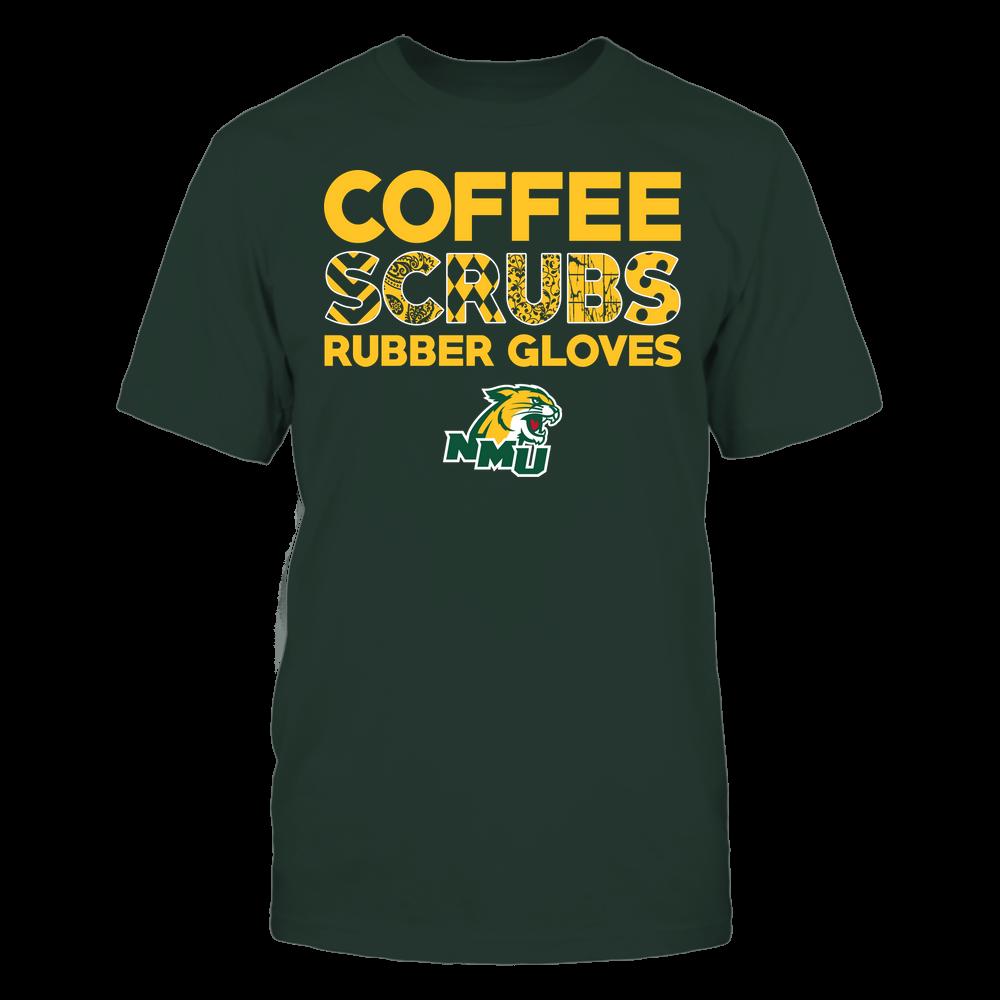 Northern Michigan Wildcats - Nurse - Coffee Scrubs Rubber Gloves - Slogan Pattern Front picture