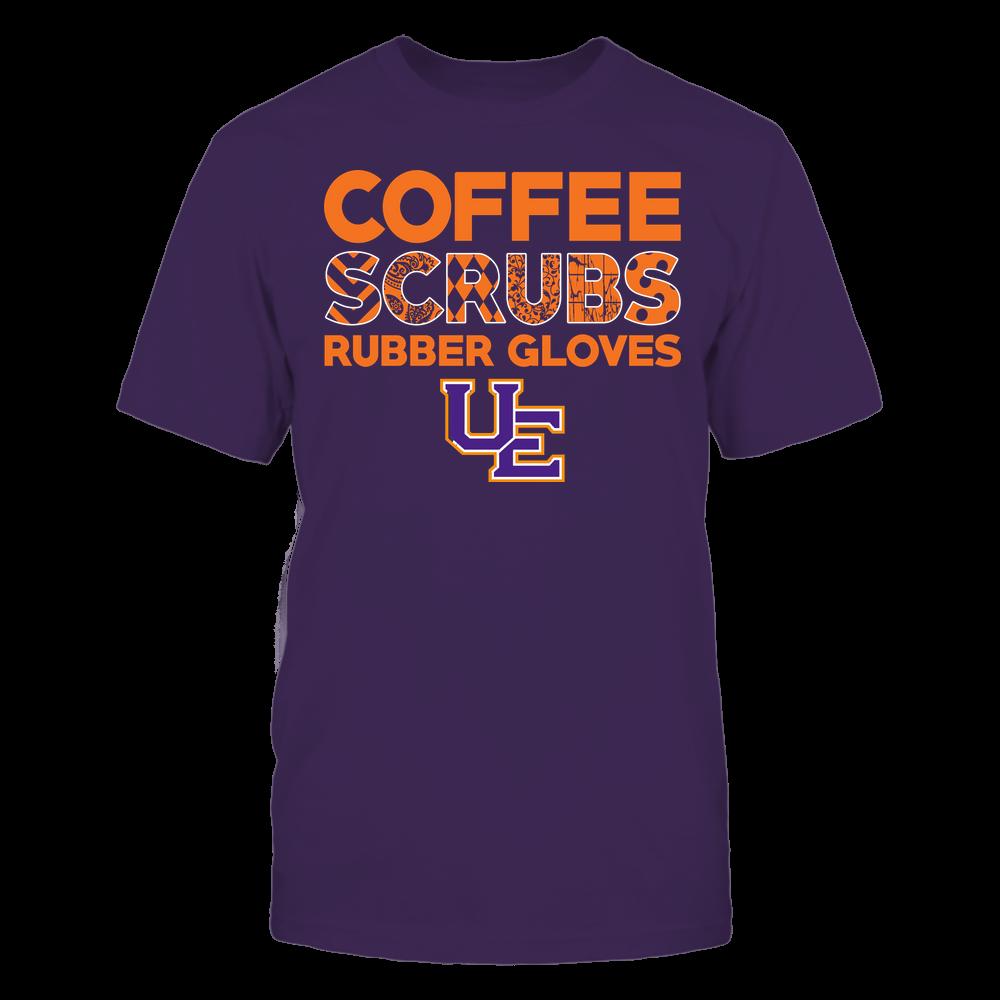 Evansville Purple Aces - Nurse - Coffee Scrubs Rubber Gloves - Slogan Pattern Front picture