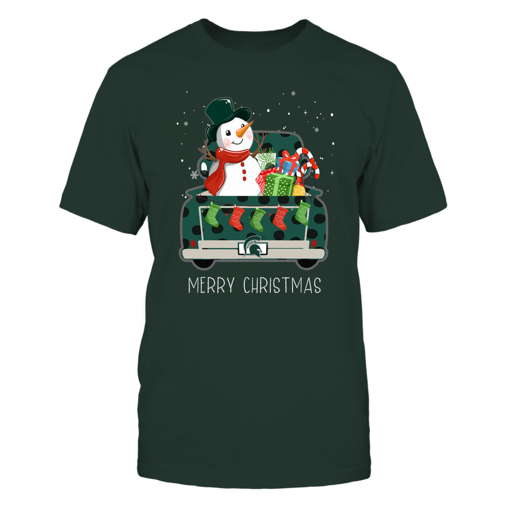 Michigan State Spartans - Xmas - Behind Christmas Truck - Snowman  - IF78-IC78-DS38 Front picture