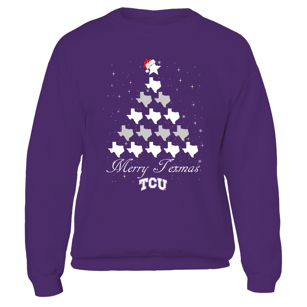 TCU Horned Frogs - Merry Christmas - State Map Christmas Tree Front picture