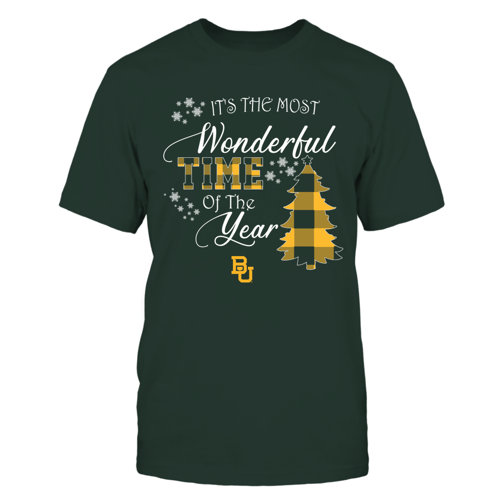 Baylor Bears - Christmas - It's The Most Wonderful Time In The Year - Checkered Pattern Front picture