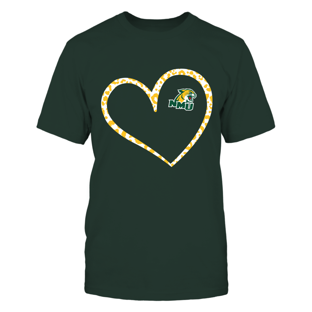 Northern Michigan Wildcats - Leopard Pattern Heart - Team Front picture