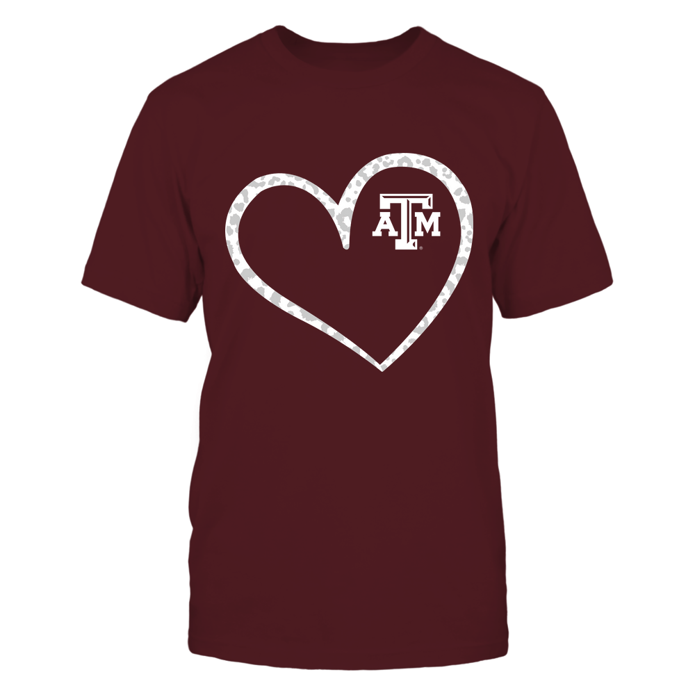 Texas A&M Aggies - Leopard Pattern Heart - Team Front picture