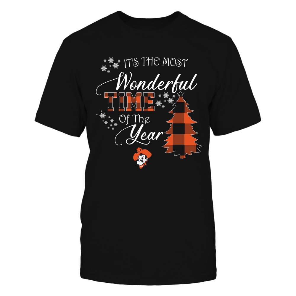 Oklahoma State Cowboys - Christmas - It's The Most Wonderful Time In The Year - Checkered Pattern Front picture