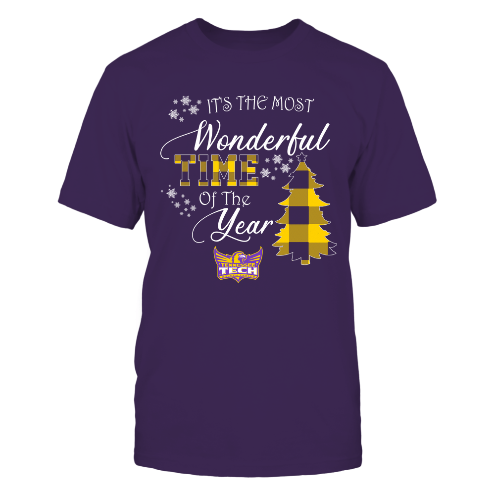 Tennessee Tech Golden Eagles - Christmas - It's The Most Wonderful Time In The Year - Checkered Pattern Front picture