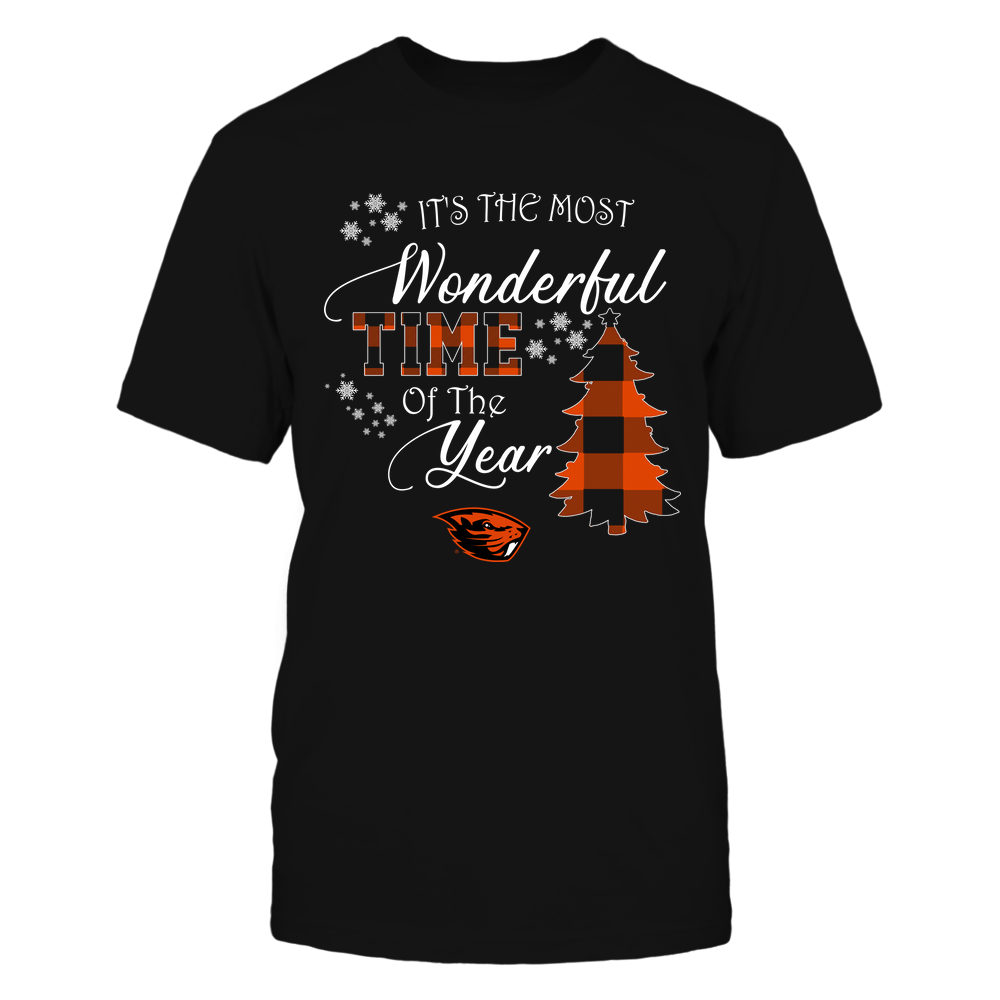 Oregon State Beavers - Christmas - It's The Most Wonderful Time In The Year - Checkered Pattern Front picture