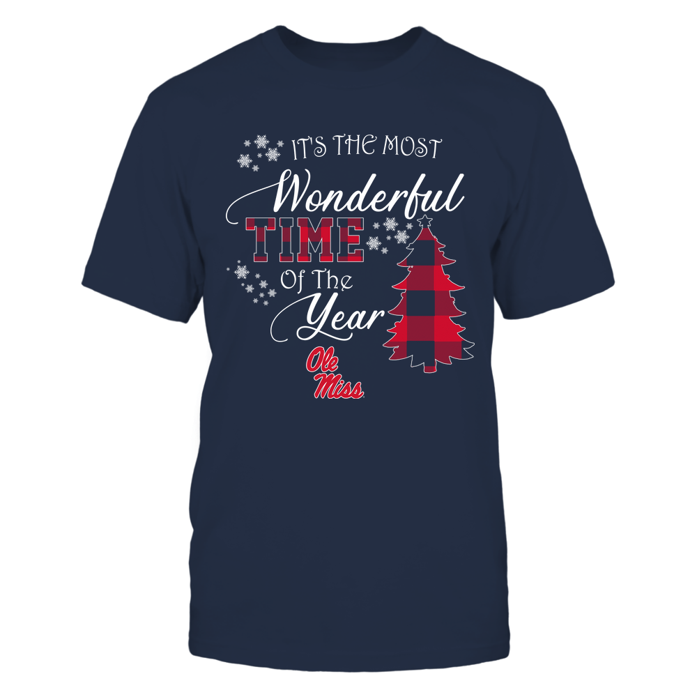Ole Miss Rebels - Christmas - It's The Most Wonderful Time In The Year - Checkered Pattern Front picture