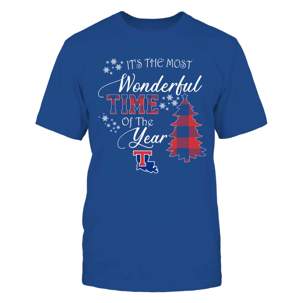 Louisiana Tech Bulldogs - Christmas - It's The Most Wonderful Time In The Year - Checkered Pattern Front picture