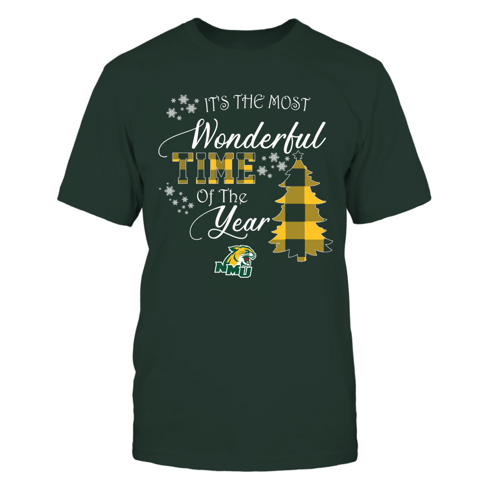Northern Michigan Wildcats - Christmas - It's The Most Wonderful Time In The Year - Checkered Pattern Front picture