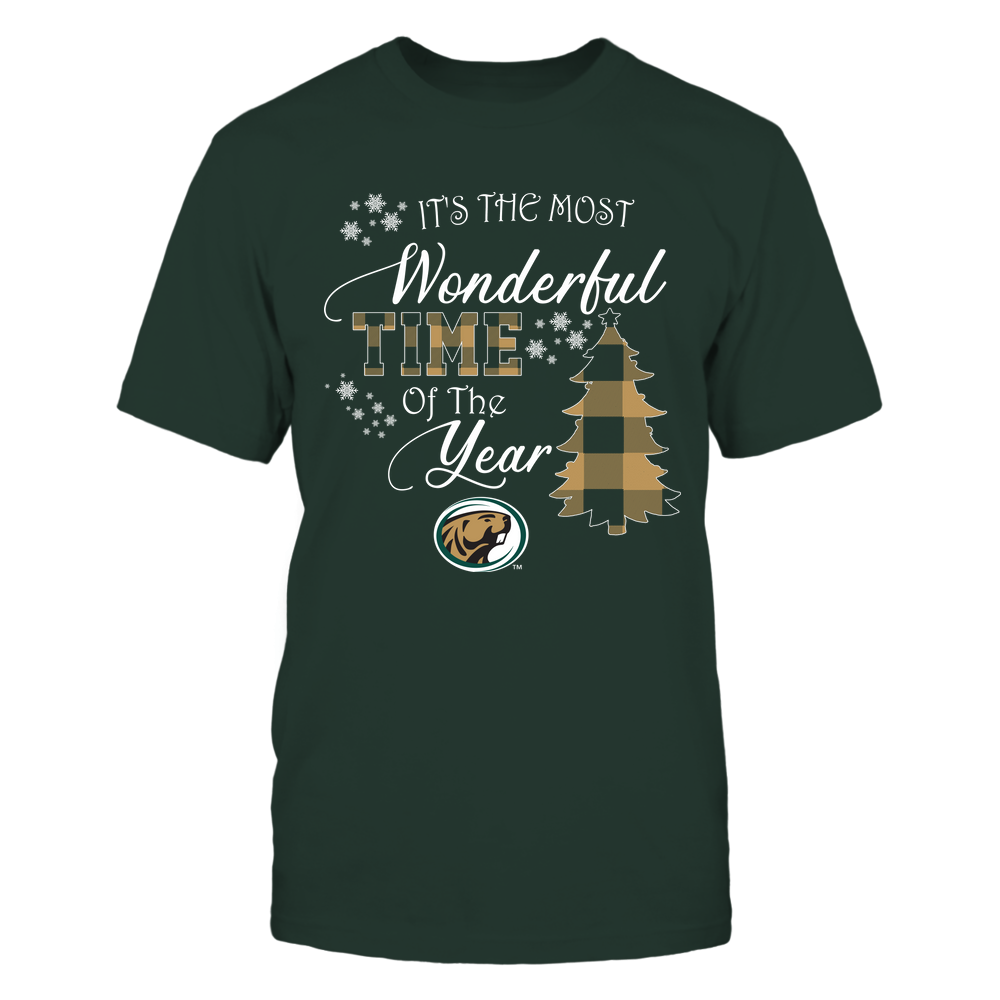 Bemidji State Beavers - Christmas - It's The Most Wonderful Time In The Year - Checkered Pattern Front picture
