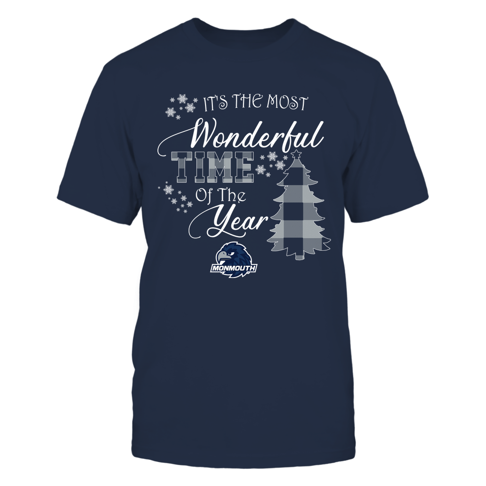 Monmouth Hawks - Christmas - It's The Most Wonderful Time In The Year - Checkered Pattern Front picture